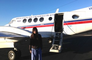 Getting ready to board The Royal Flying Doctor's plane for another visit to the outback.